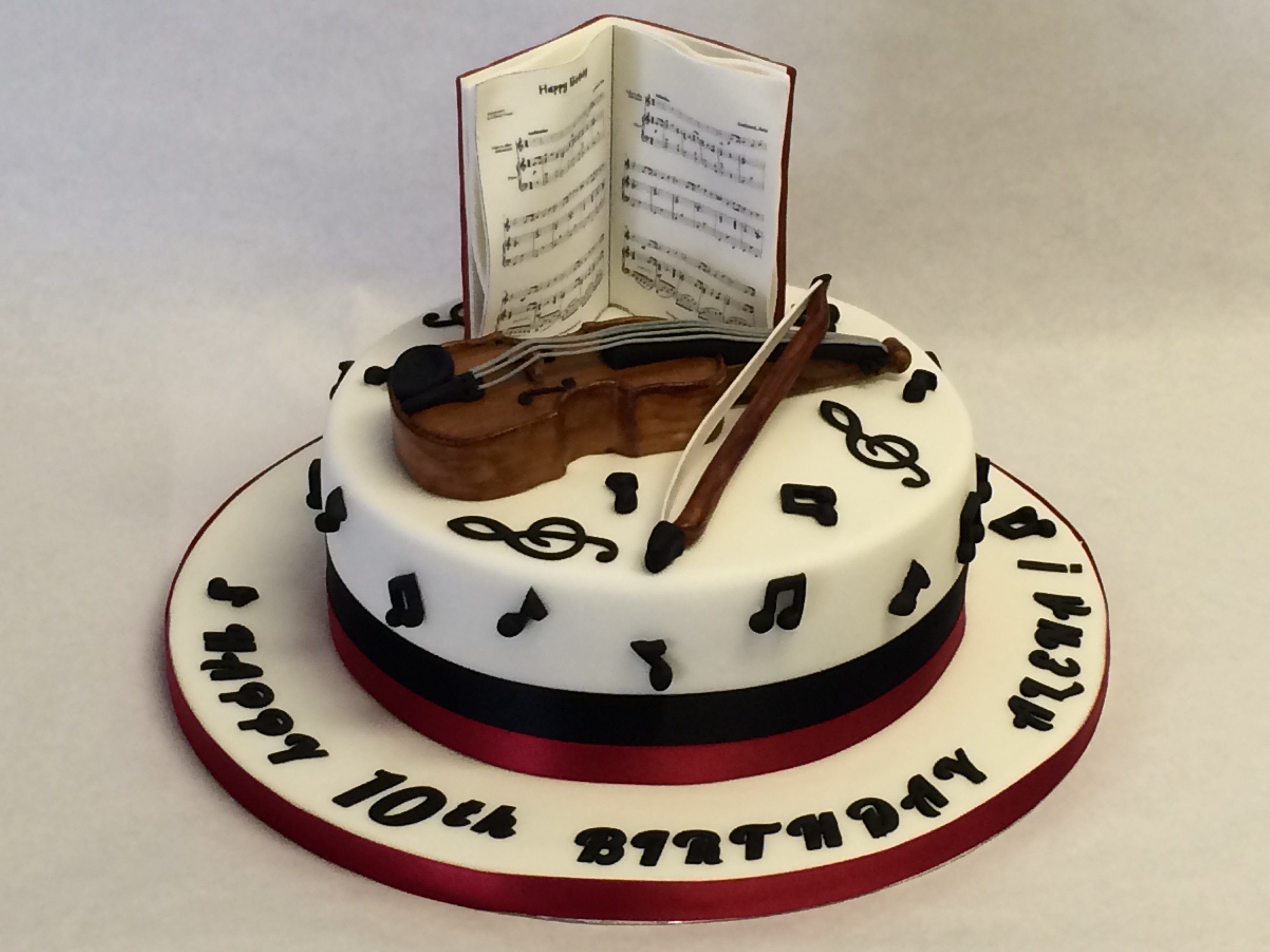 Music Birthday Cakes Musical Cake With Violin And Music Pages Girls Birthday Cakes