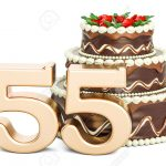 Number Birthday Cakes Chocolate Birthday Cake With Golden Number 55 3d Rendering Isolated
