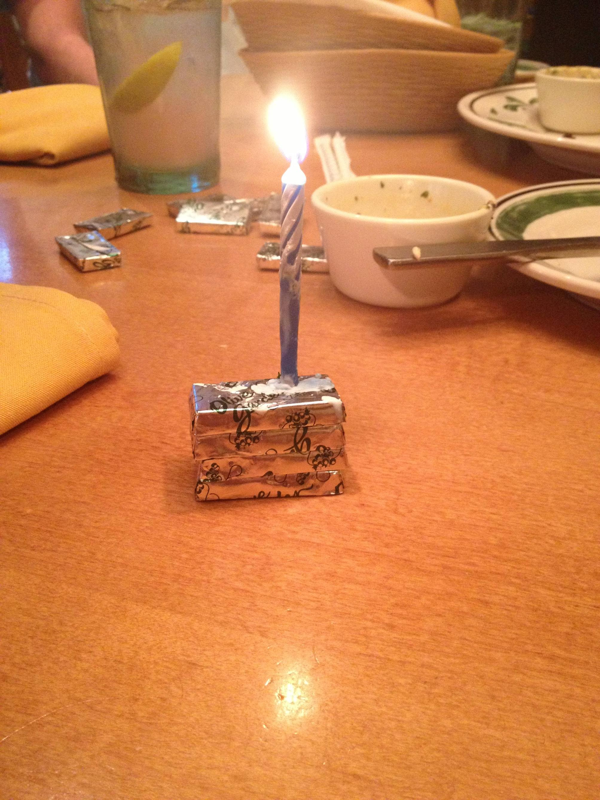 Olive Garden Birthday Cake So Olive Garden Apparently Ran Out Of Cake And Put A Candle In The