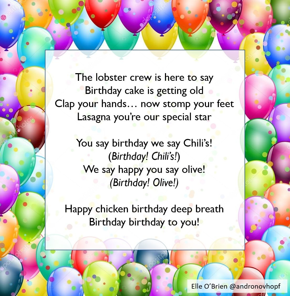 Olive Garden Birthday Cake Wrote A Birthday Song Using Botnik Voicebox Mixing The Songs From