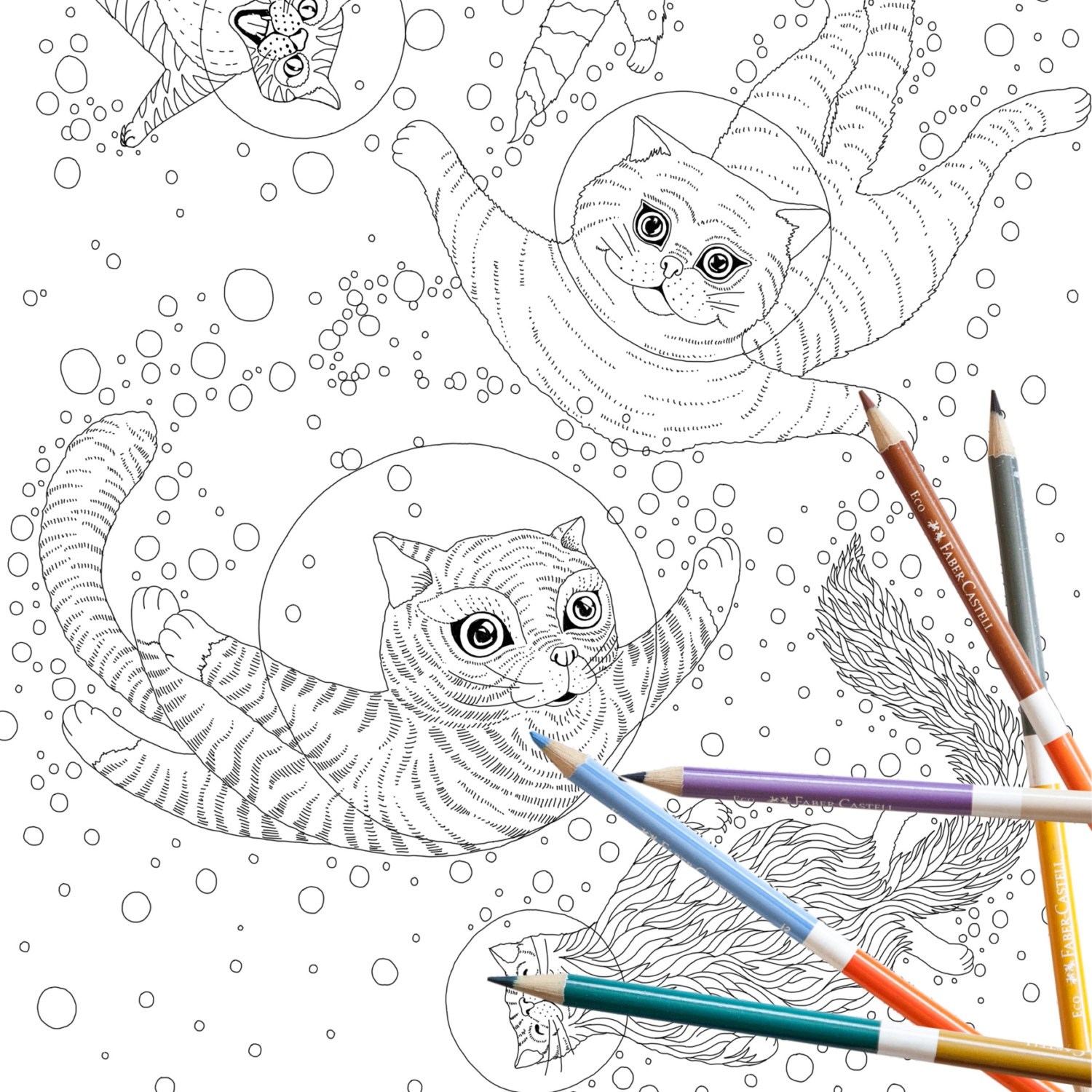 Outer Space Coloring Pages Best Of Coloring Page Instant Download Space Cats Adult Coloring