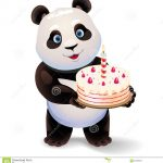 Panda Birthday Cake Panda Holding Birthday Cake Vector Clip Art Illustration With