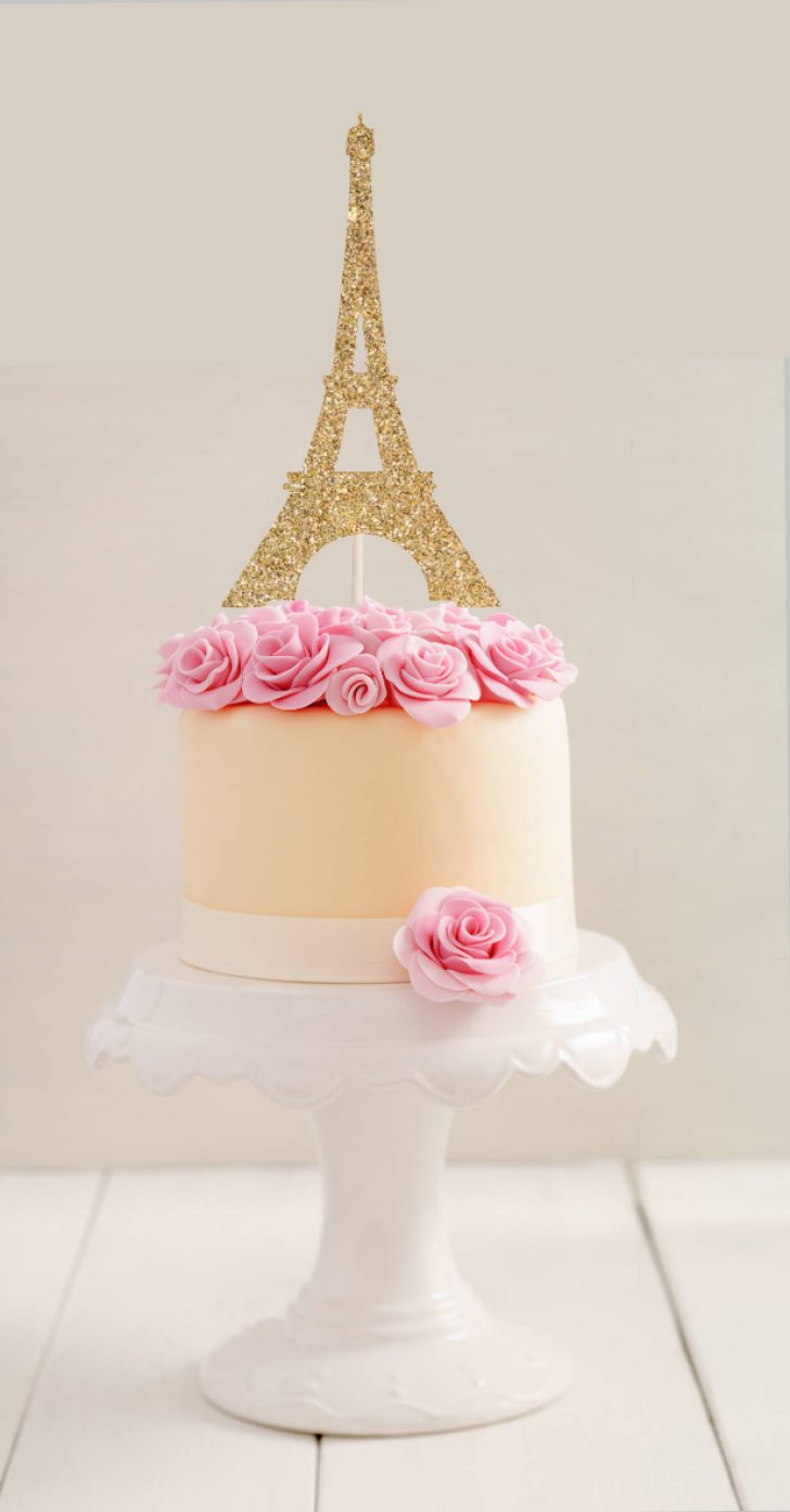 Paris Birthday Cake Eiffel Tower Cake Topper L Paris Cake Topper L Party Cake Etsy