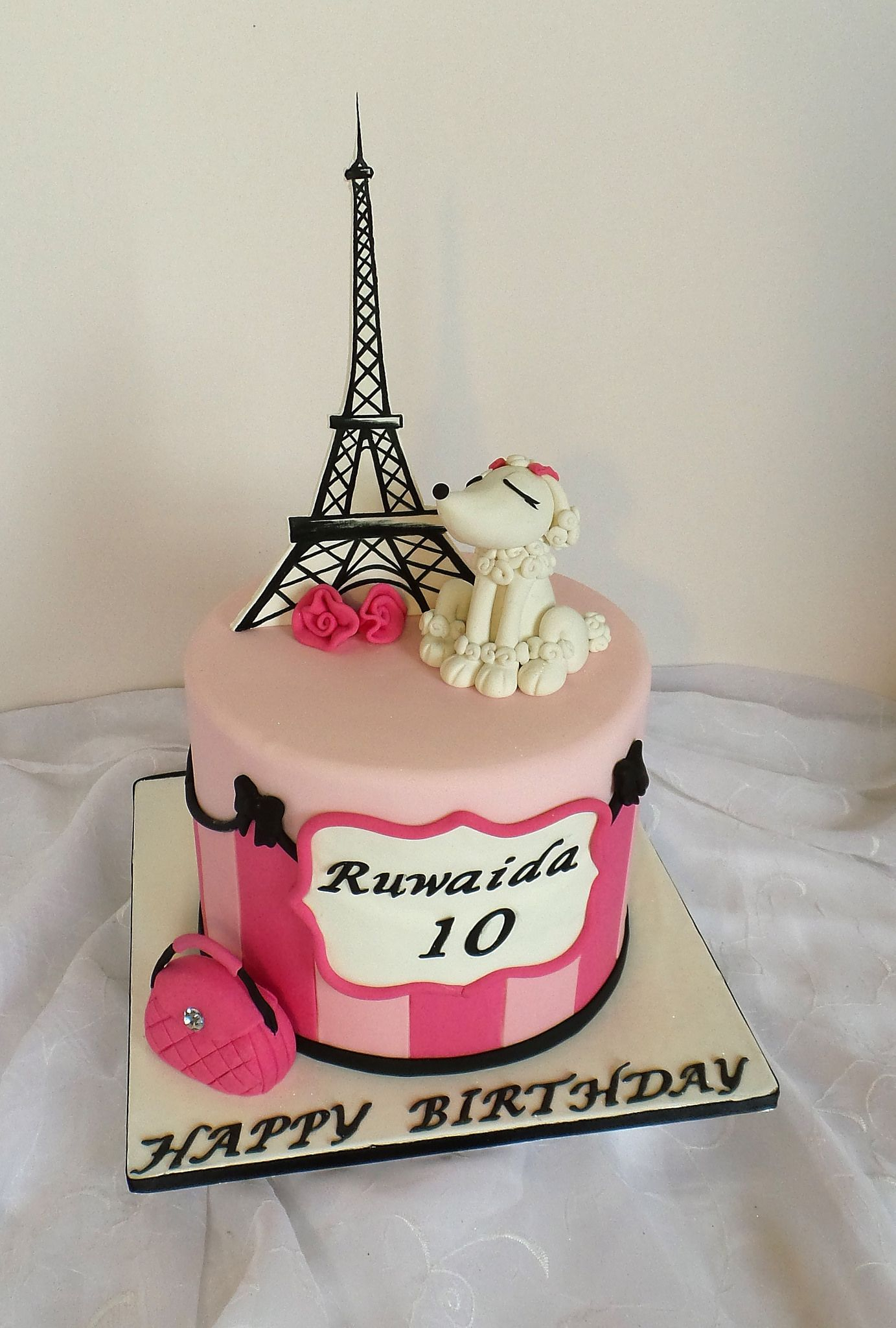 Paris Birthday Cake Paris Themed Birthday Cake With Fondant Poodle Handbag And Eiffel
