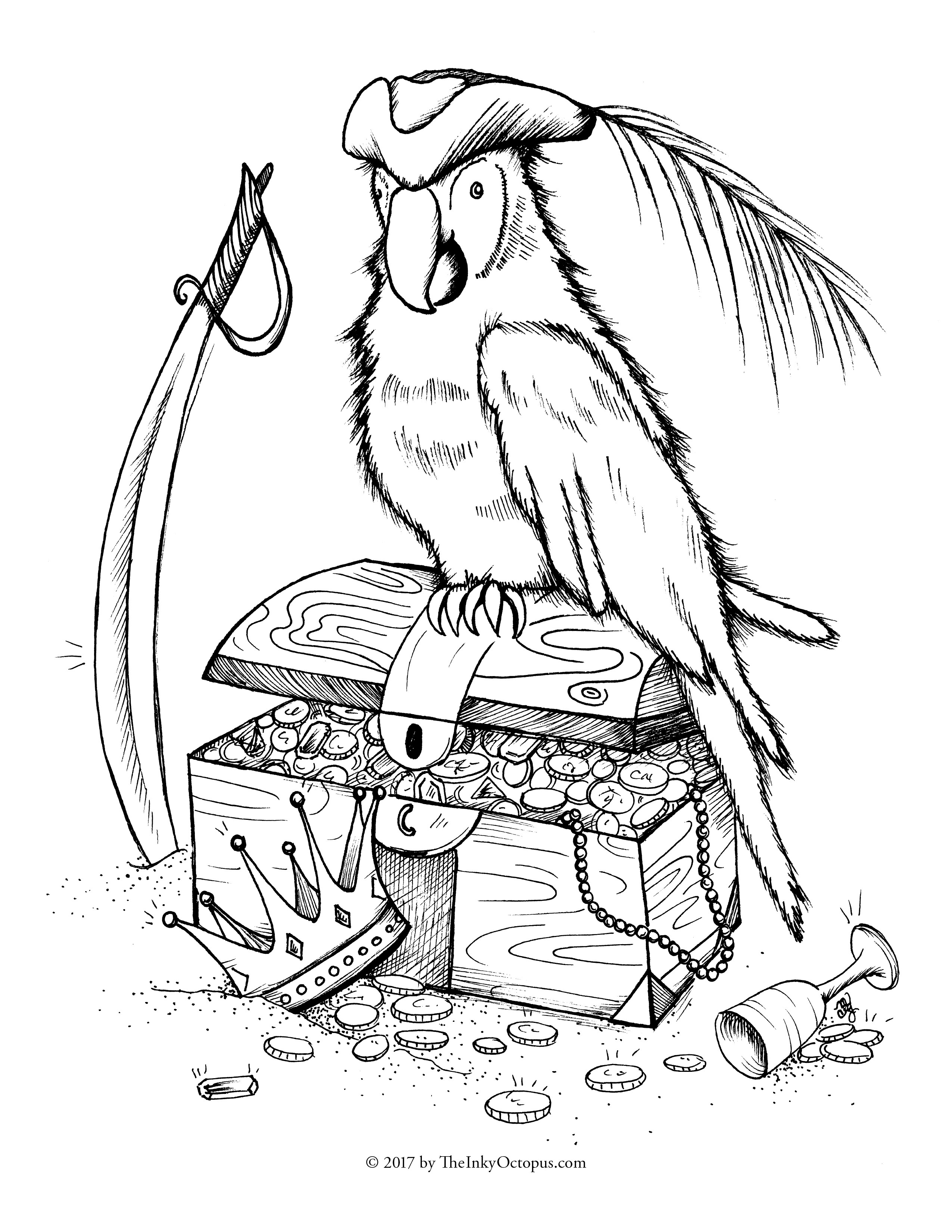 Parrot Coloring Pages Pirate Color Pages Free Printable Parrot Coloring Page The Inky