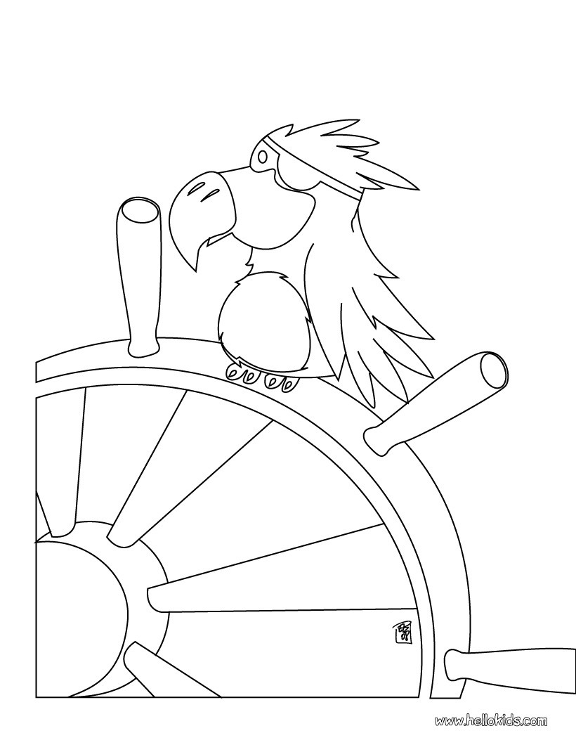 Parrot Coloring Pages Pirate Parrot Coloring Pages Hellokids