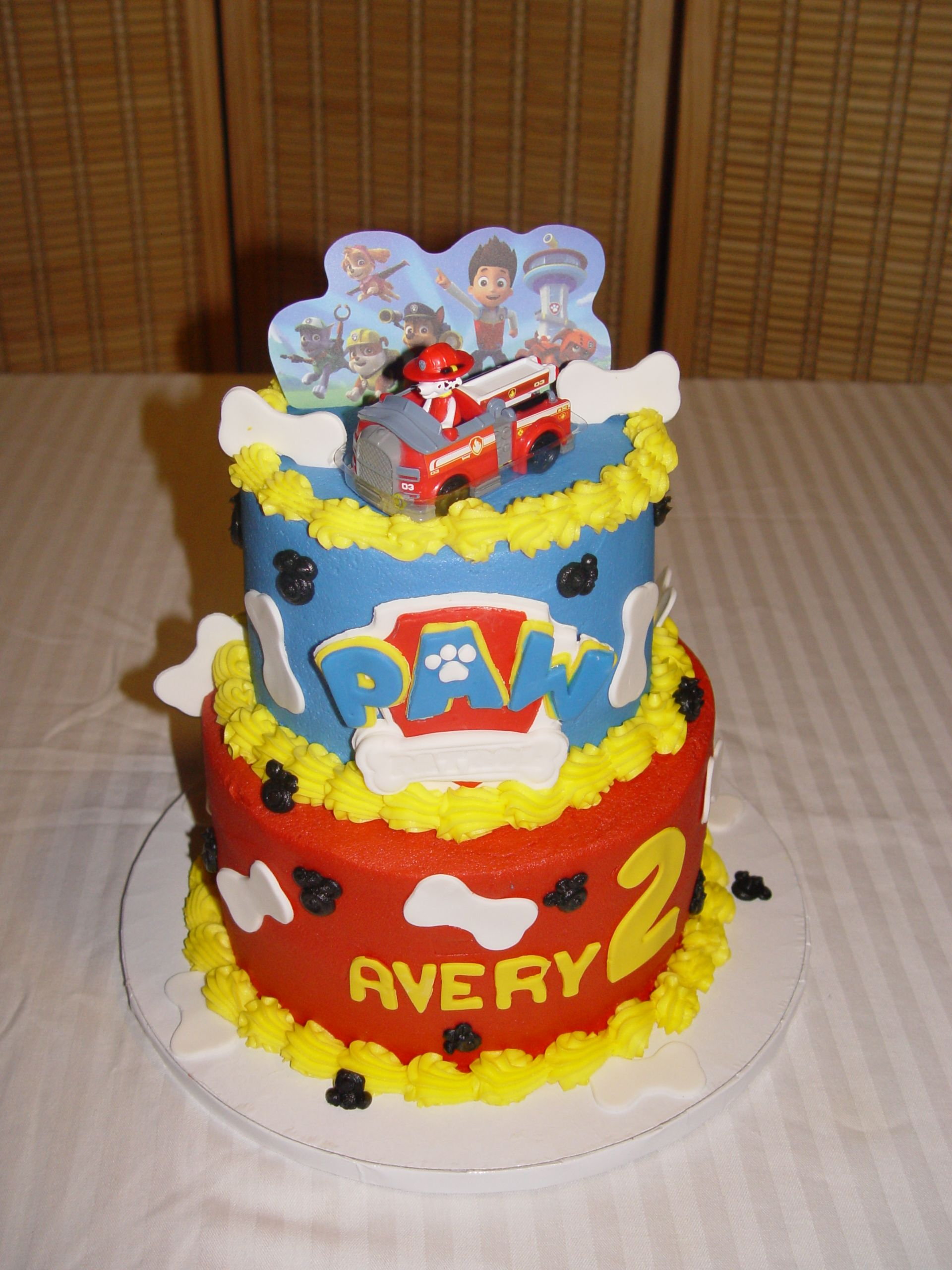 Paw Patrol Birthday Cake Toppers Buttercream Cake With Fondant Paw Patrol Logo Bones And Marshall