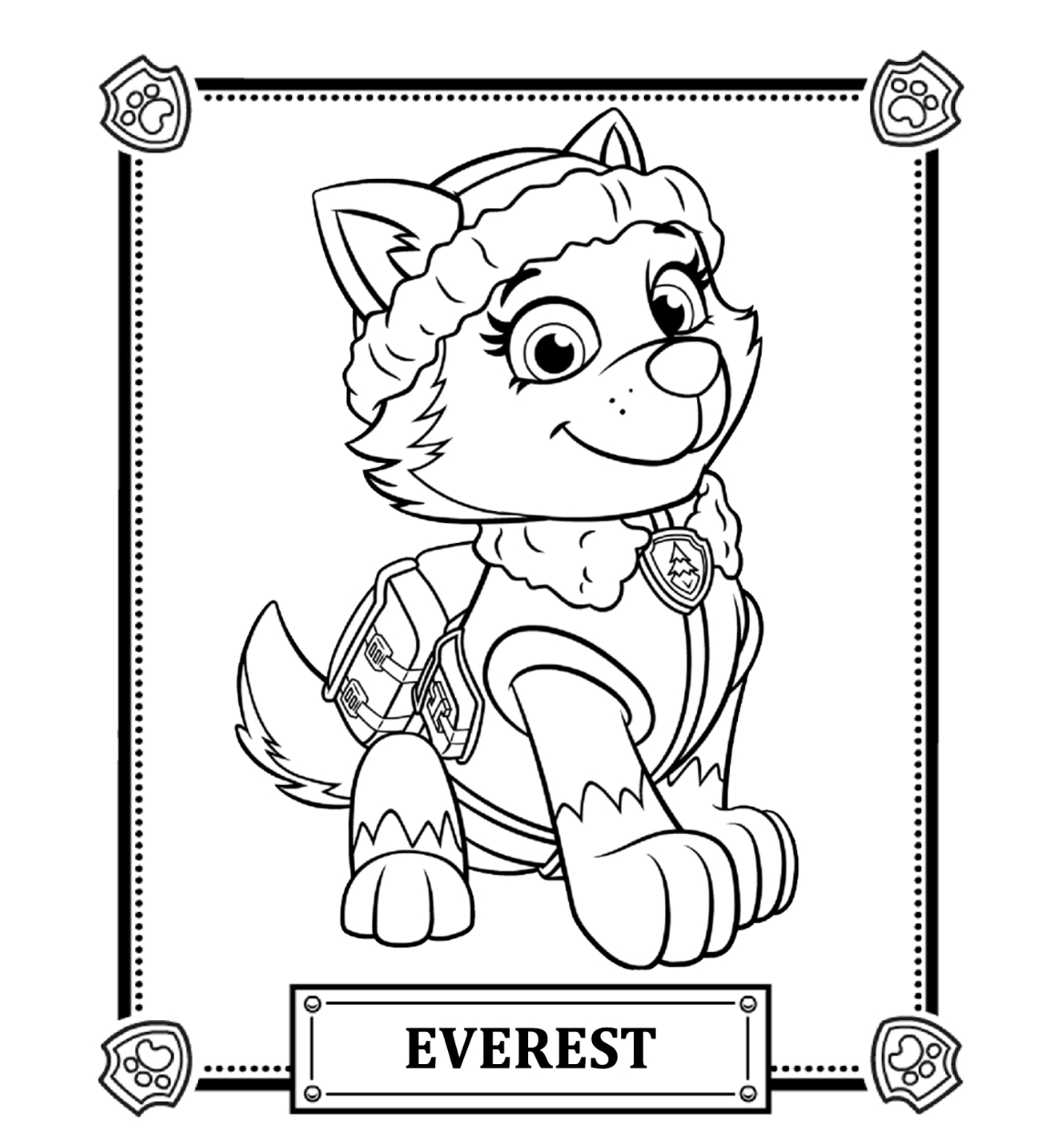 Paw Patrol Coloring Pages Paw Patrol Coloring Pages Everest Coloringstar