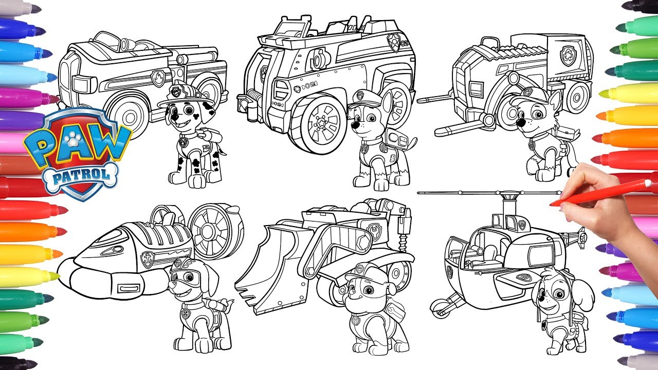 Paw Patrol Coloring Pages Paw Patrol Vehicles Coloring Pages For Kids How To Color All Paw
