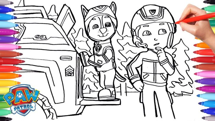 Paw Patrol Coloring Pages Paw Patrol Winter Rescue Coloring Pages For Kids Chase And Ryder