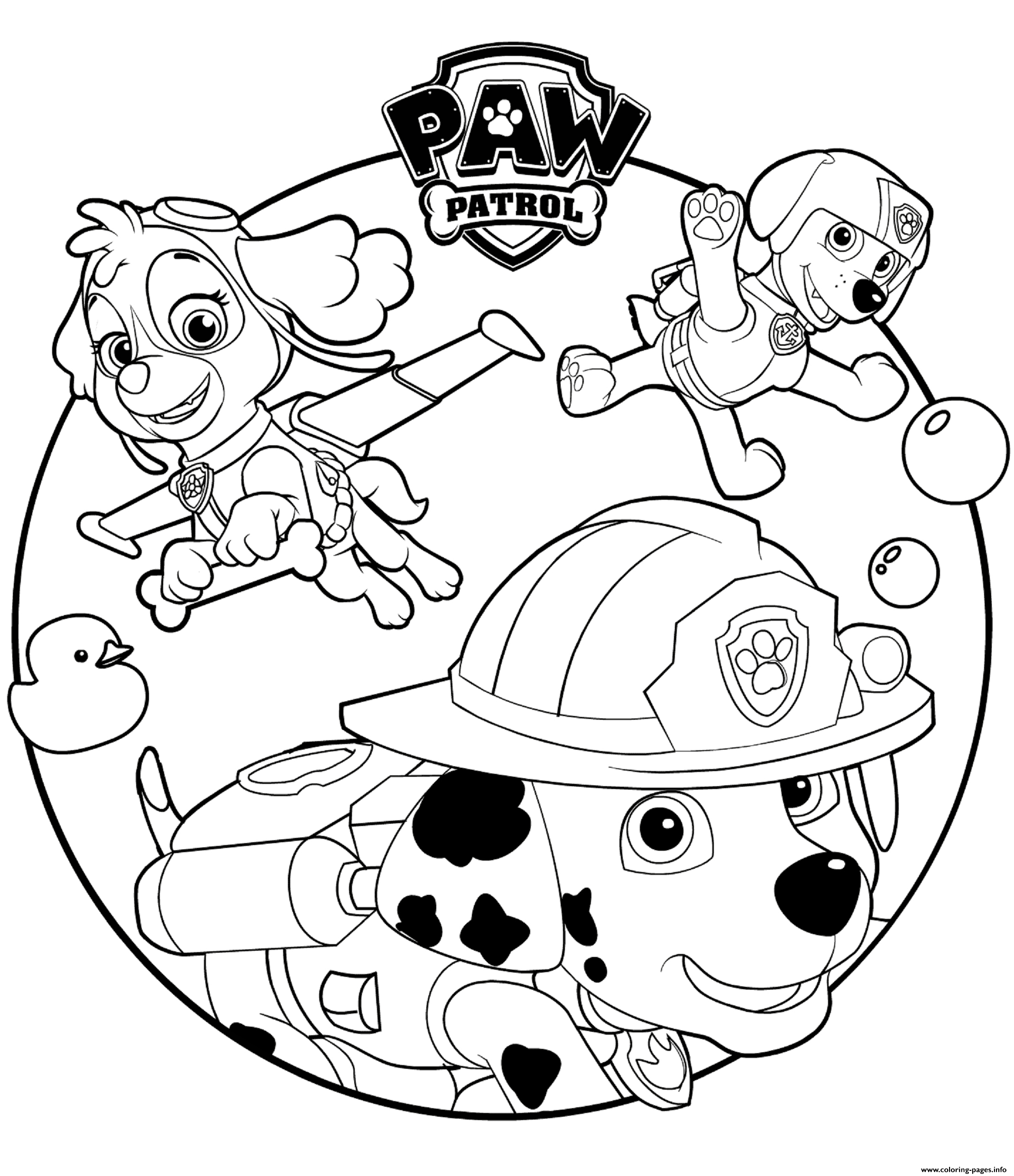 Paw Patrol Coloring Pages Skye Marshall And Rocky Paw Patrol Coloring Pages Printable