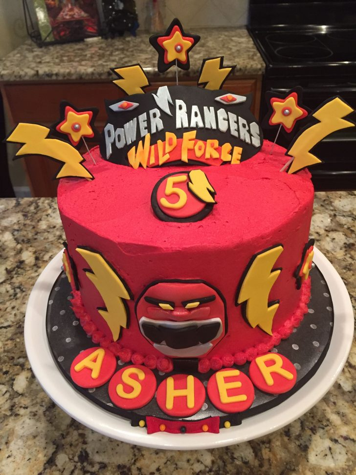 Power Rangers Birthday Cake Power Ranger Wild Force Cake In Red Buttercream For 5 Year Old