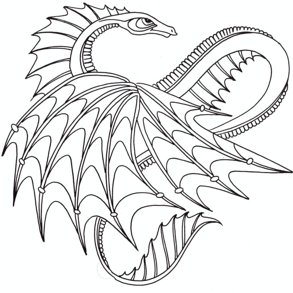 Printable Dragon Coloring Pages Flying Dragon Coloring Pages For Adults