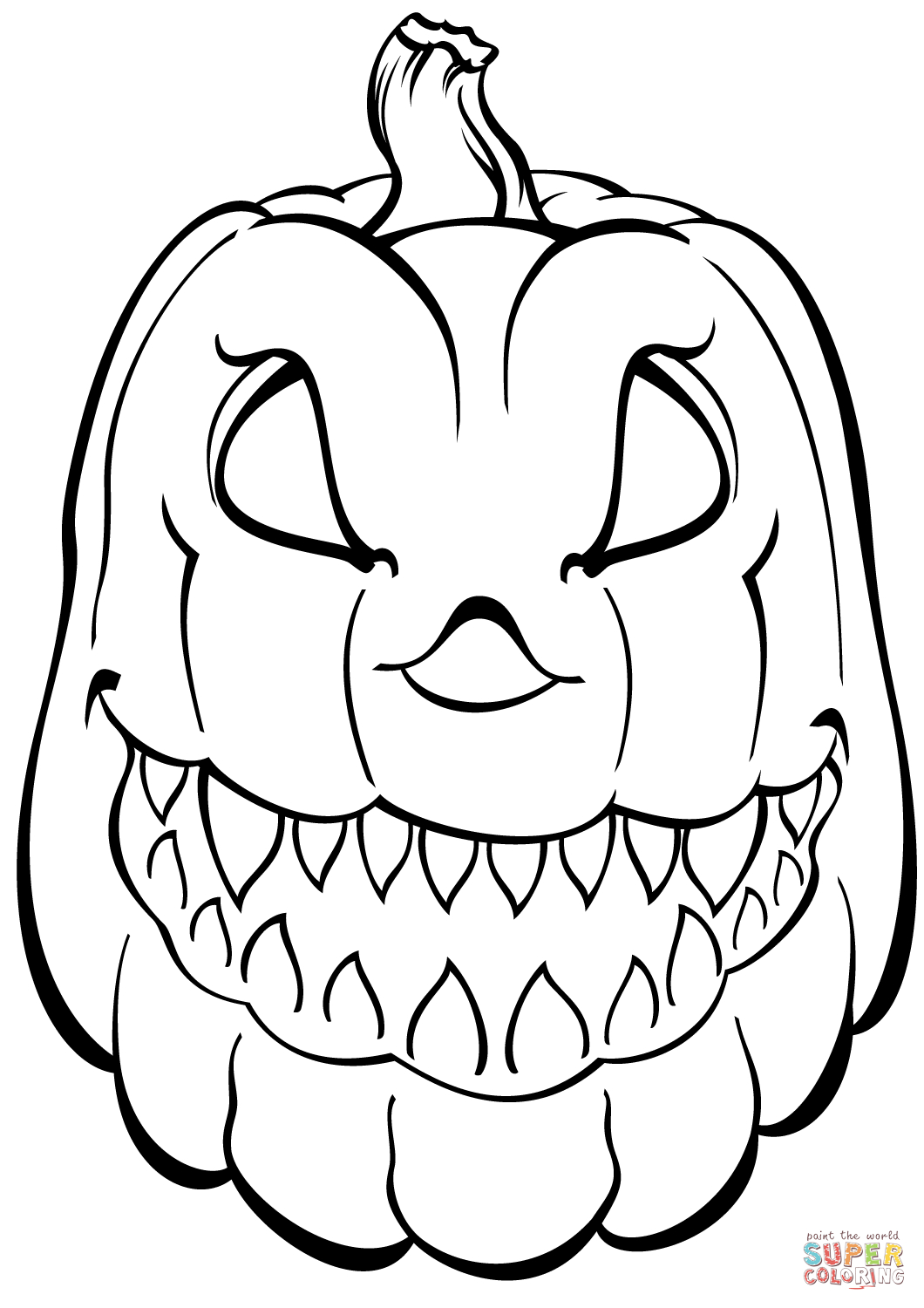 Printable Pumpkin Coloring Pages Scary Pumpkin Coloring Page Free Printable Coloring Pages