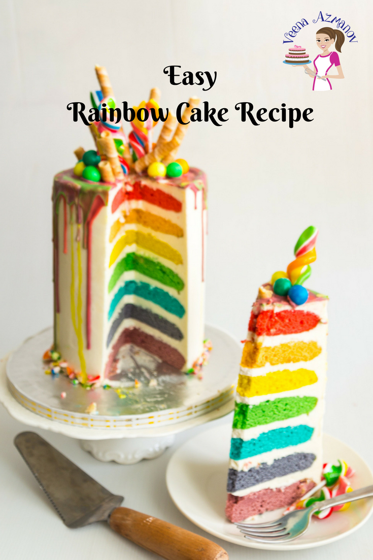 Rainbow Birthday Cake Easy Rainbow Cake Recipe Seven Rainbow Layer Cake Veena Azmanov