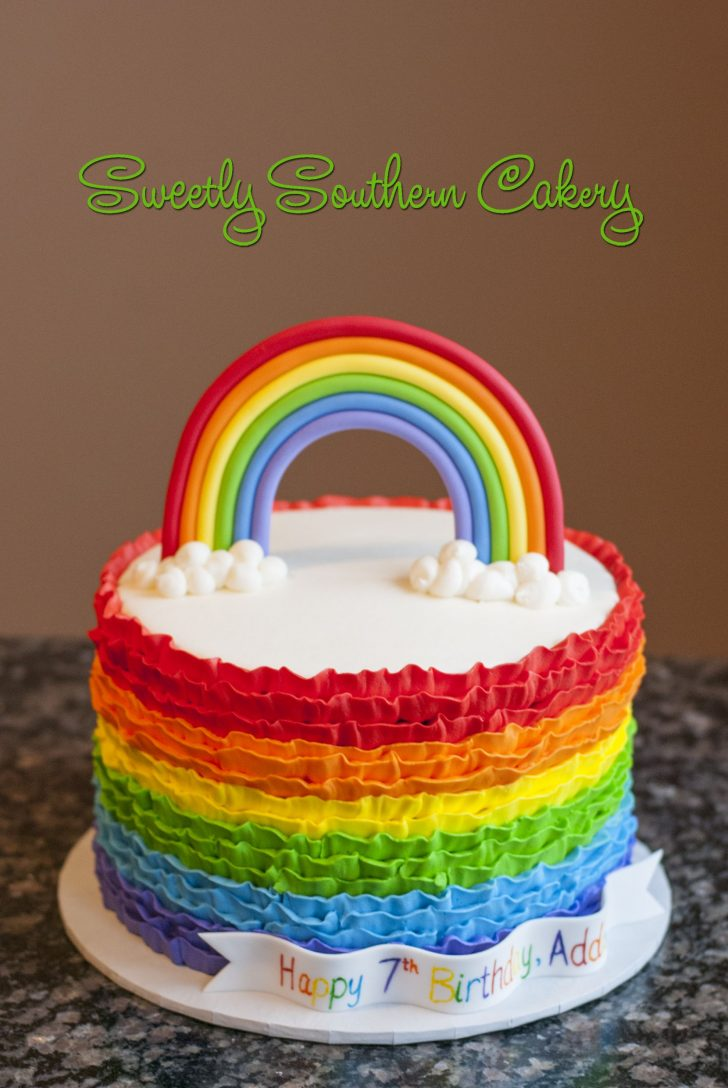 Rainbow Birthday Cake Rainbow Cake Buttercream Ruffles Cakes In 2019 Pinterest Cake