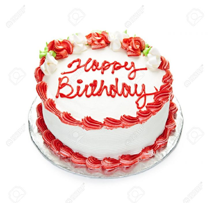 Red Birthday Cake Birthday Cake With White And Red Icing Isolated On White Stock Photo