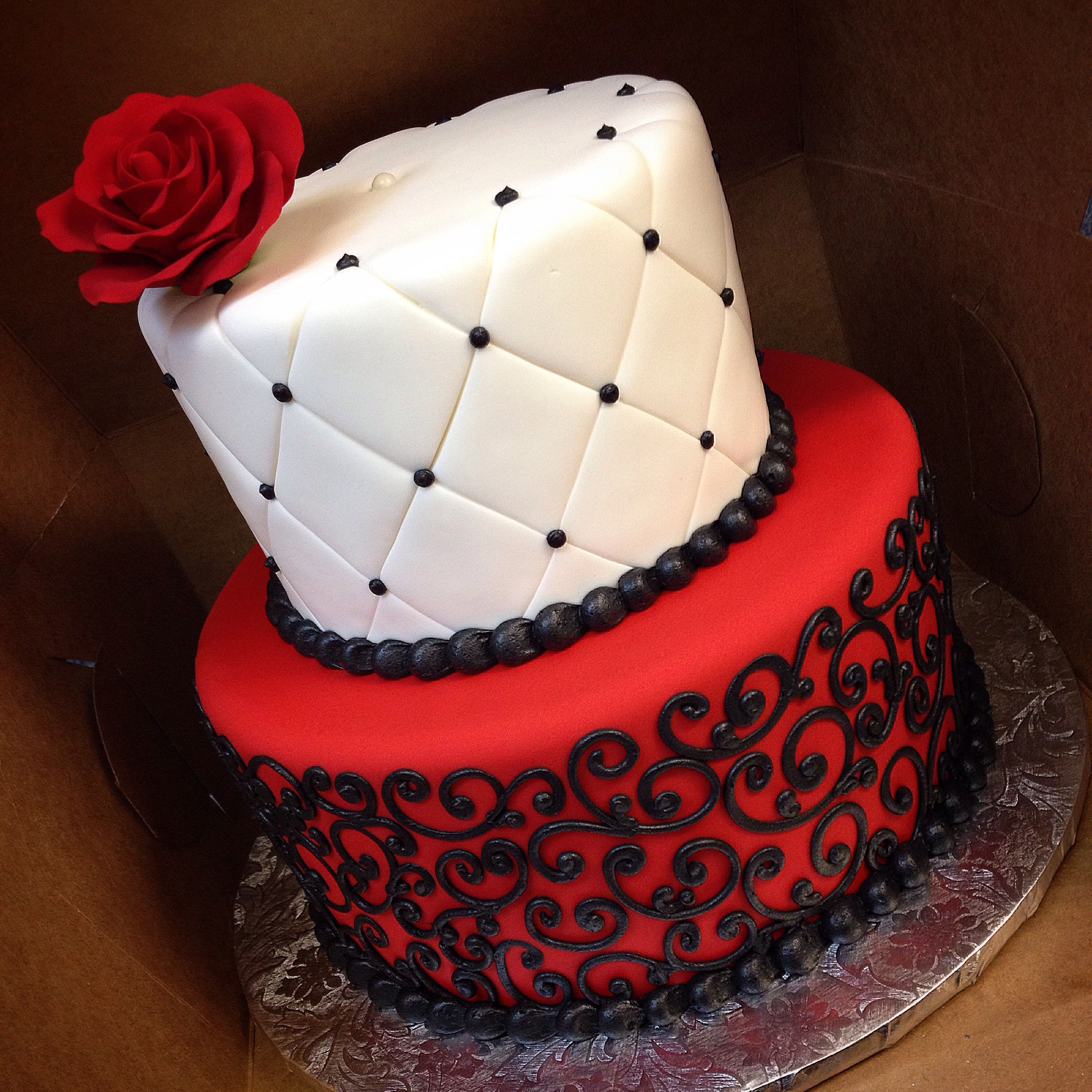 Red Birthday Cake Black White And Red Birthday Cake For A Phantom Of The Opera Theme