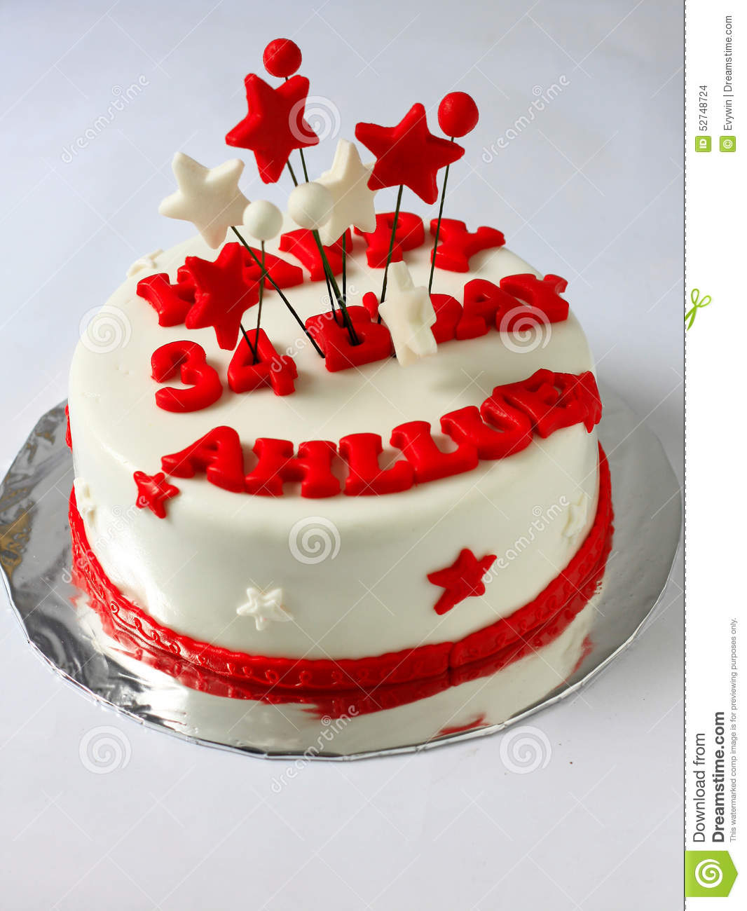 Red Birthday Cake Fondant Birthday Cake Cake Stock Photo Image Of Hearts 52748724