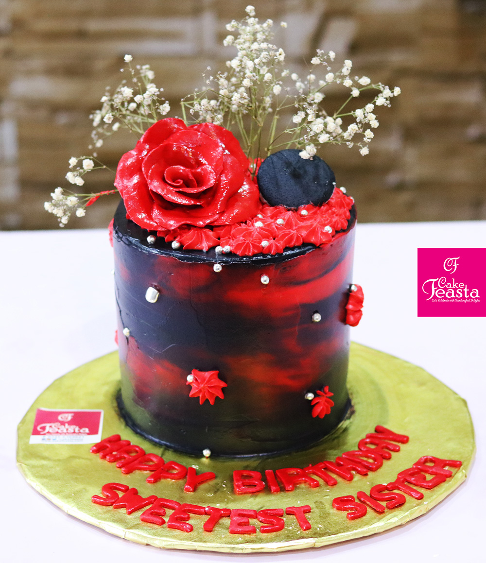 Red Birthday Cake Red Black Flower Birthday Cake Customized Cakes In Lahore