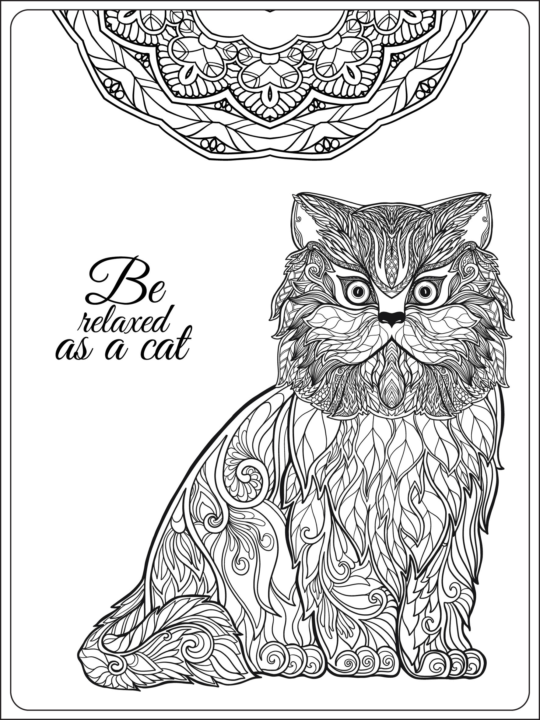 Relaxing Coloring Pages Be Relaxing As A Cat Cats Adult Coloring Pages