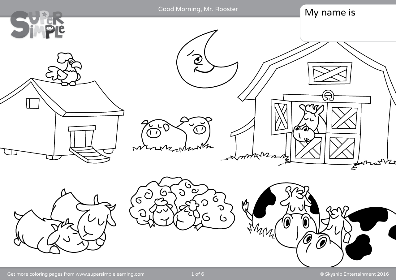 Rooster Coloring Page Good Morning Mr Rooster Coloring Pages Super Simple