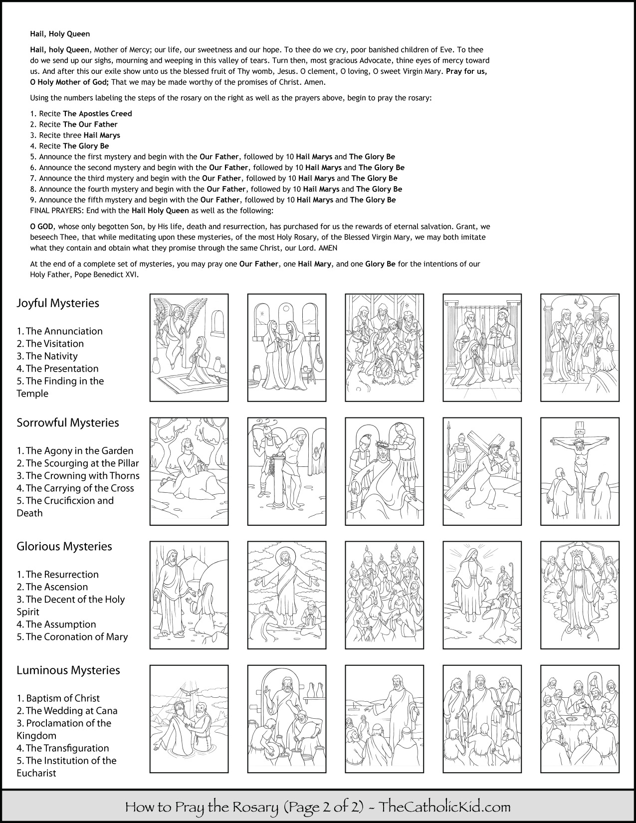Rosary Coloring Page How To Pray The Rosary Coloring Page For Kids Thecatholickid For