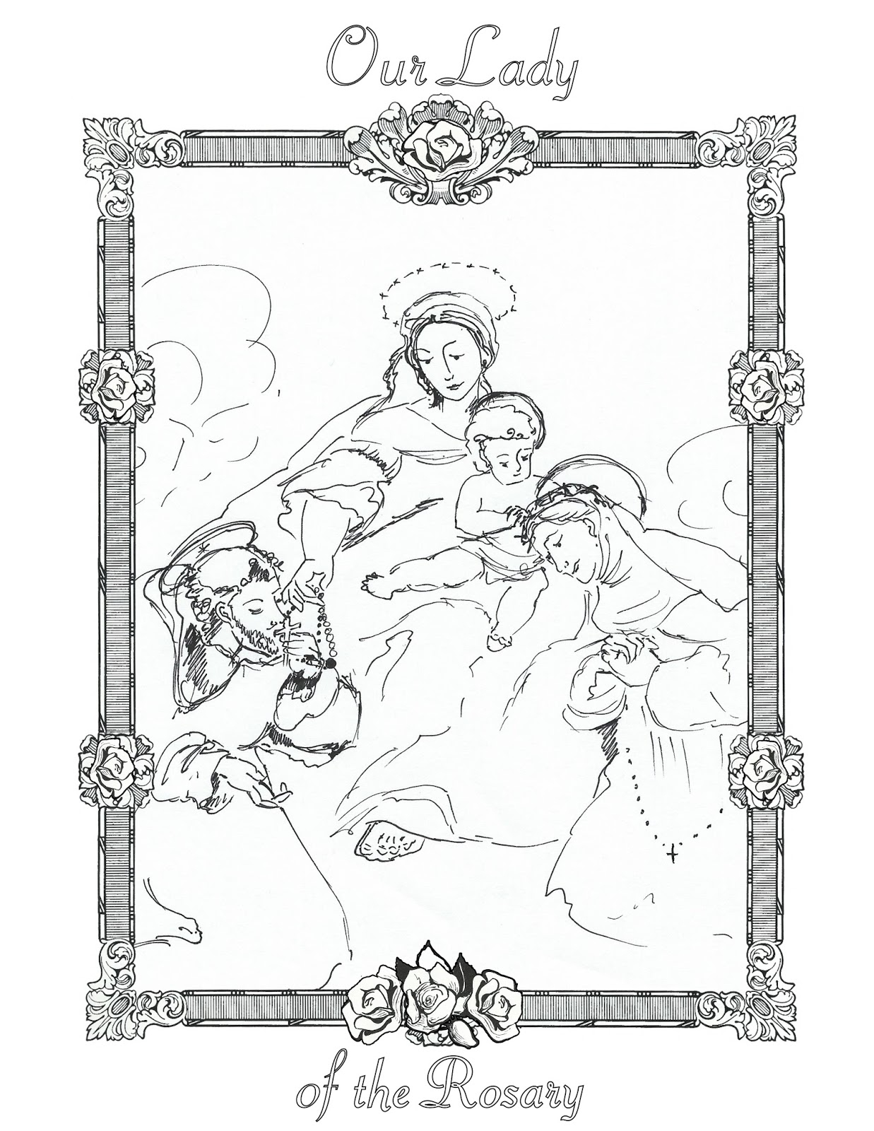 Rosary Coloring Page Life Love Sacred Art Free Our Lady Of The Rosary Coloring Page