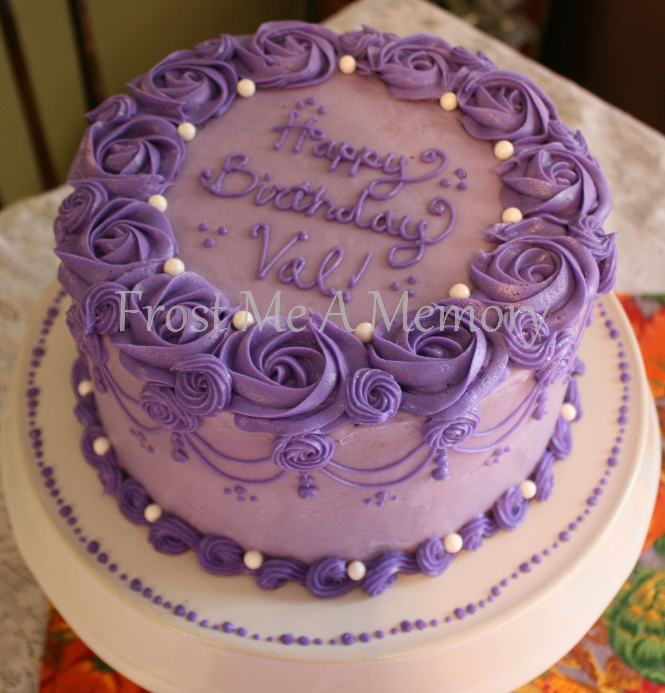 Round Birthday Cakes Beautiful Purple Cake Simple