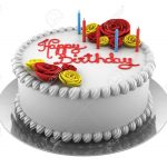 Round Birthday Cakes Round Birthday Cake With Candles Isolated On White Background Stock