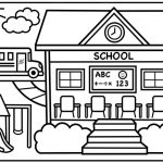 School Coloring Pages How To Draw A School For Kids Back To School Drawing For