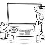 School Coloring Pages Peppa Pig Daddy Pig School Coloring Pages For Kids With Colored