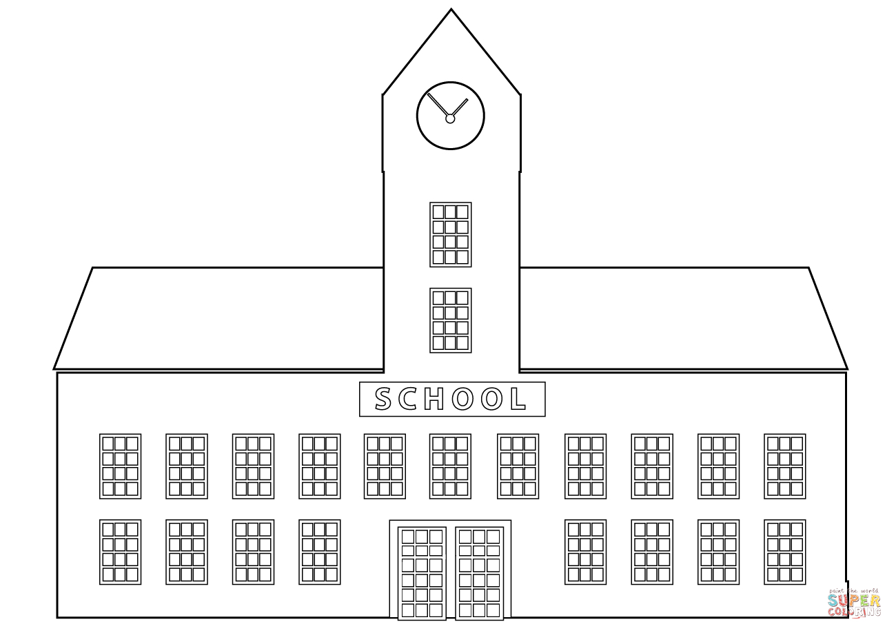 School Coloring Pages School Building Coloring Page Free Printable Coloring Pages