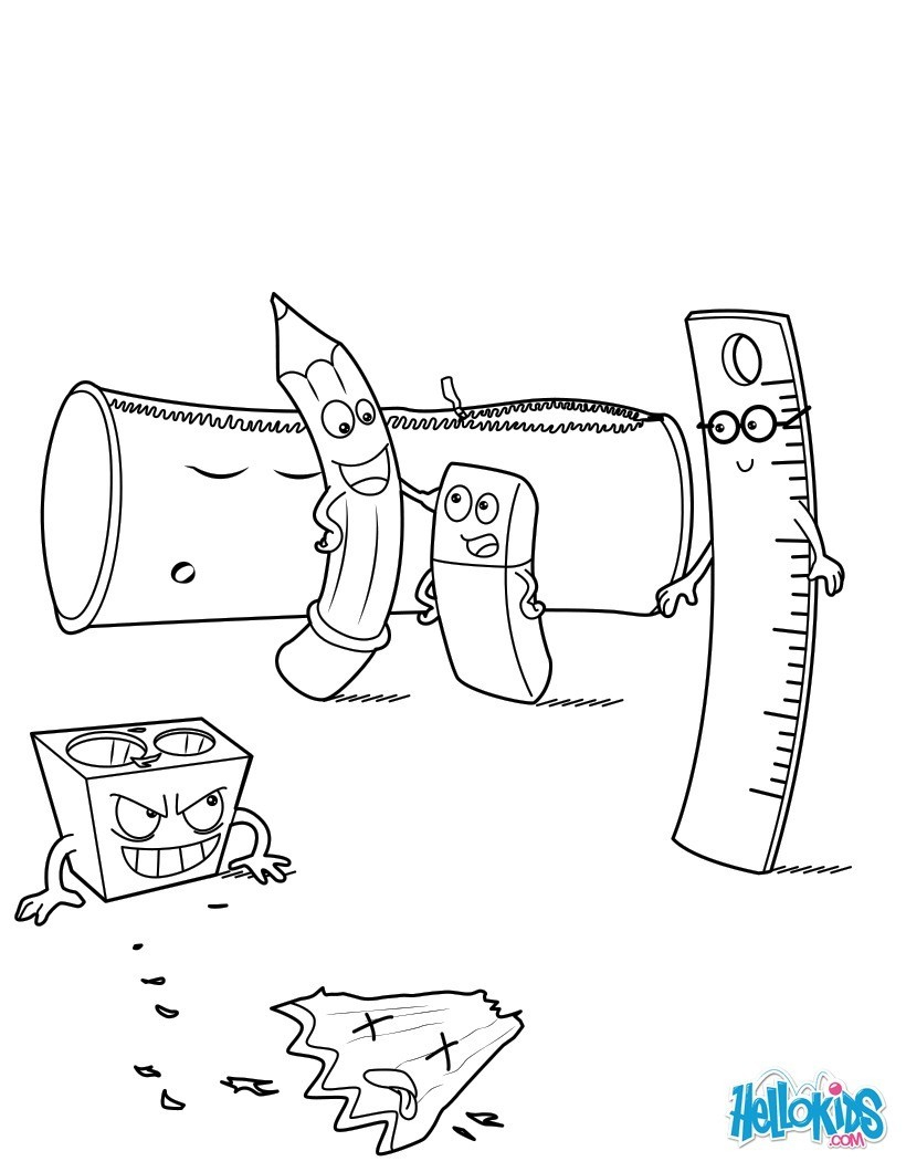 School Coloring Pages School Supplies Coloring Pages Hellokids