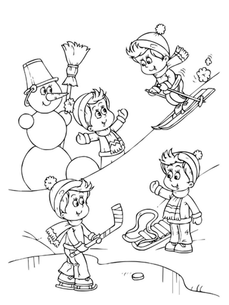Seasons Coloring Pages Coloring Pages Marvelous Sports For Kids Image Inspirations Winter