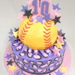 Softball Birthday Cakes Custom Softball Cake With Fondant Detailing Happy 10th Birthday