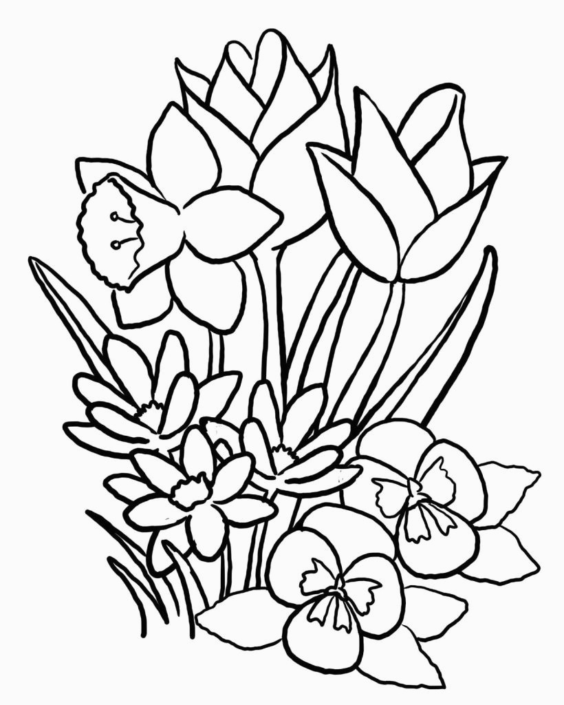 Spring Flowers Coloring Pages Spring Flowers Coloring Pages Printable Get Coloring Pages