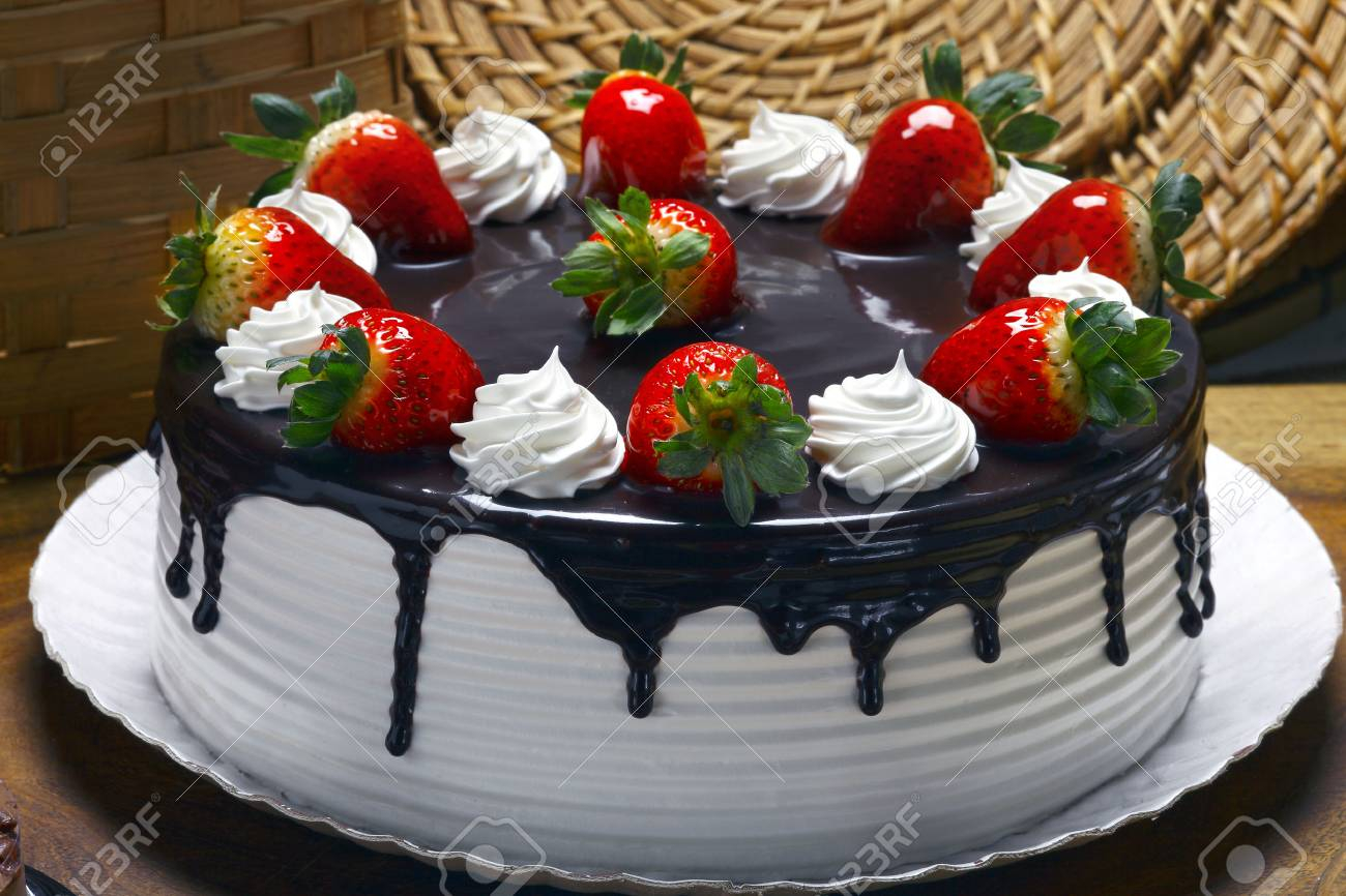 Strawberry Birthday Cakes Cake With Whipped Cream And Chocolate Stock
