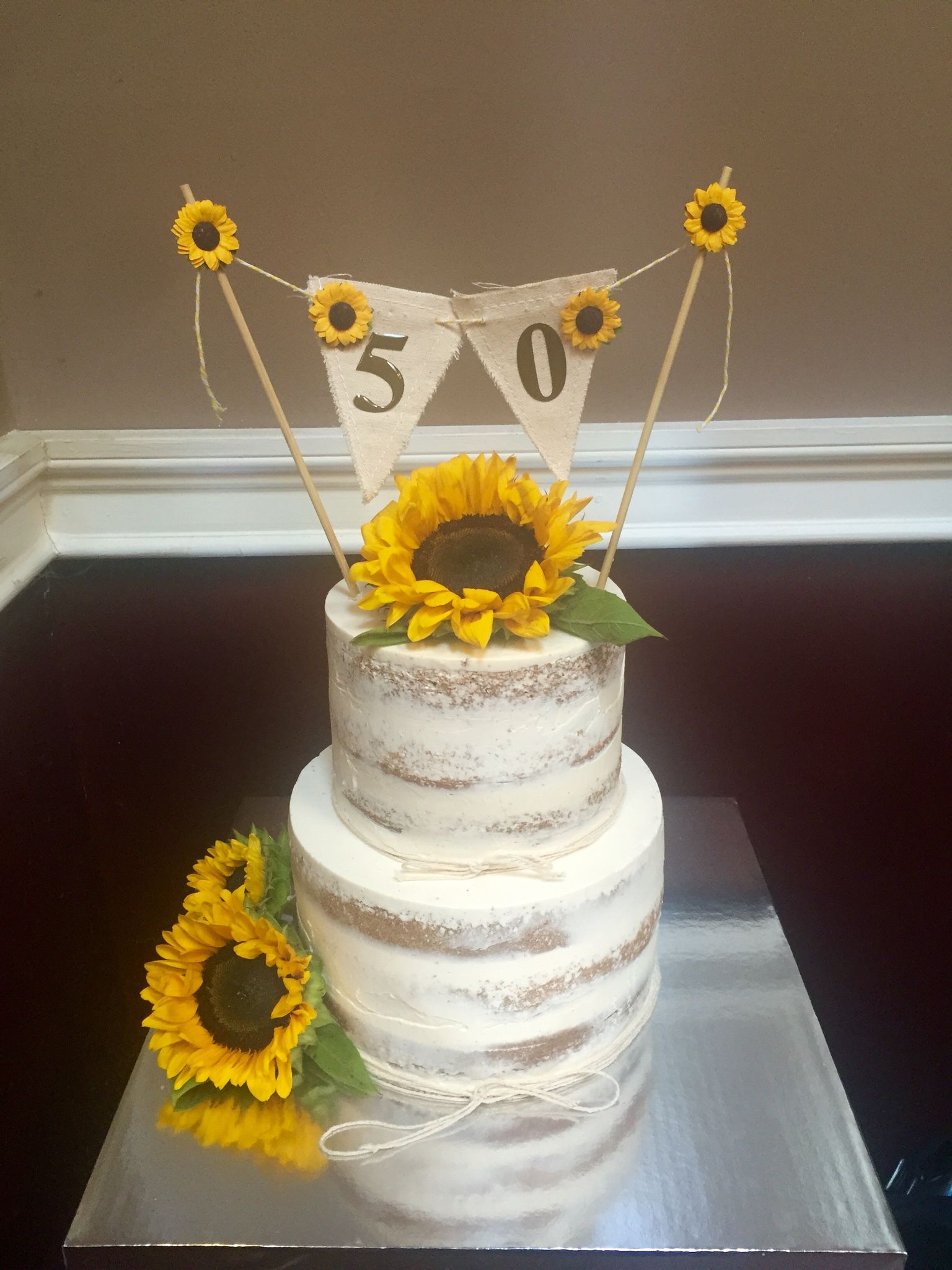 Sunflower Birthday Cake Semi Naked W Sunflowers And 50th Banner