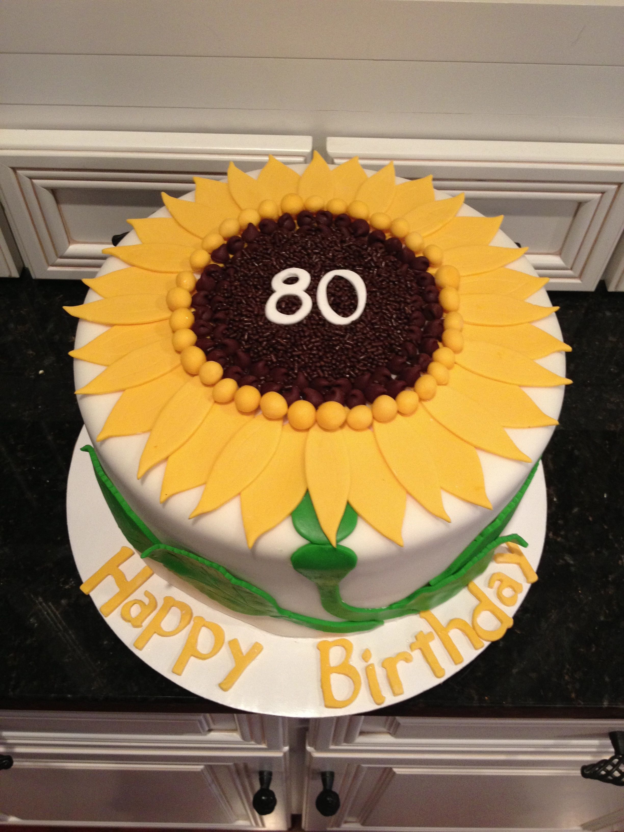 3264 In 30 Beautiful Picture Of Sunflower Birthday Cake For 80 Year Old