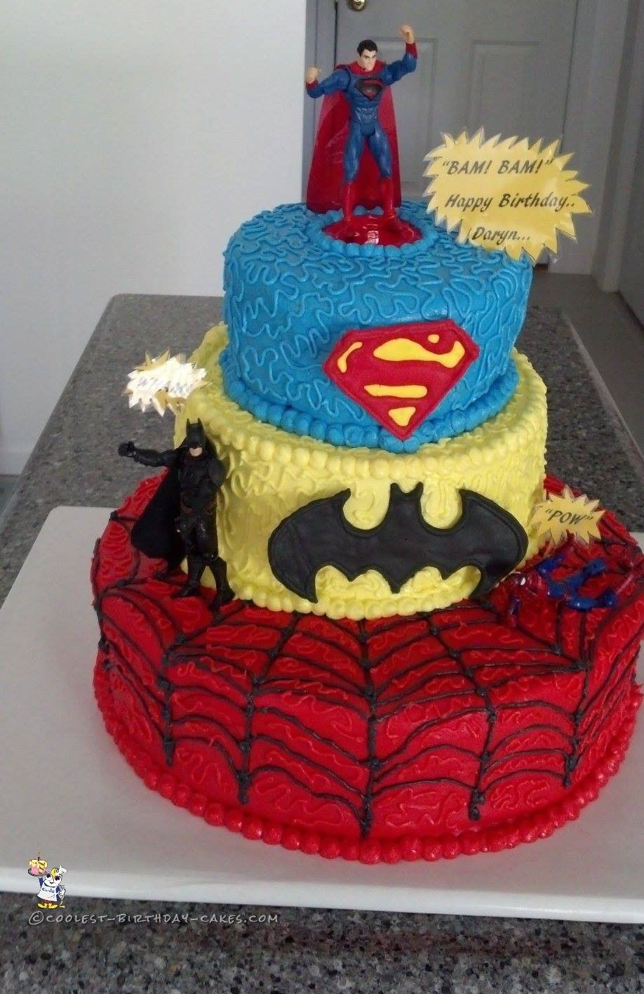 1415 In 30 Best Picture Of Superhero Birthday Cake Cool 3 Tier