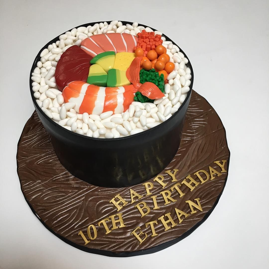 Sushi Birthday Cake Giant Sushi Roll Cake For Ethan Deliciousarts