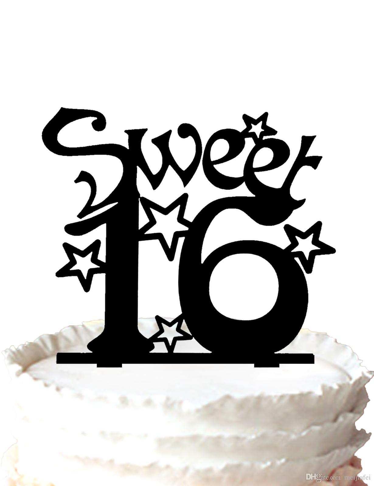 Sweet 16 Birthday Cake 2019 Sweet Sixteen Birthday Cake Topper Silhouette Many Stars For