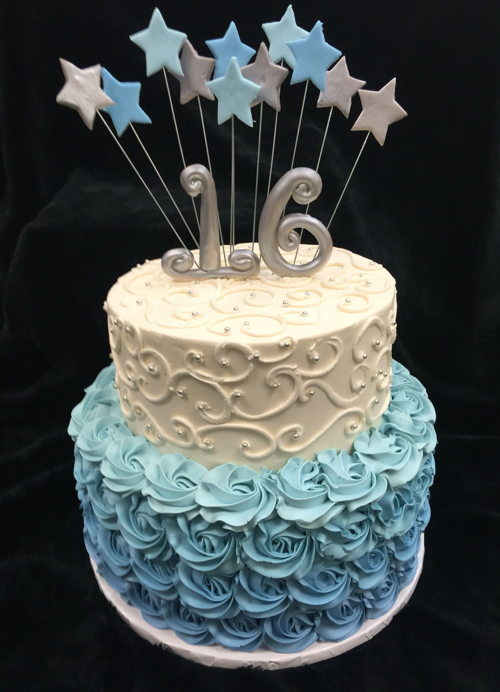 Sweet 16 Birthday Cake Blue Silver Sweet 16 Sweet 16 Pinterest Sweet 16 Birthday