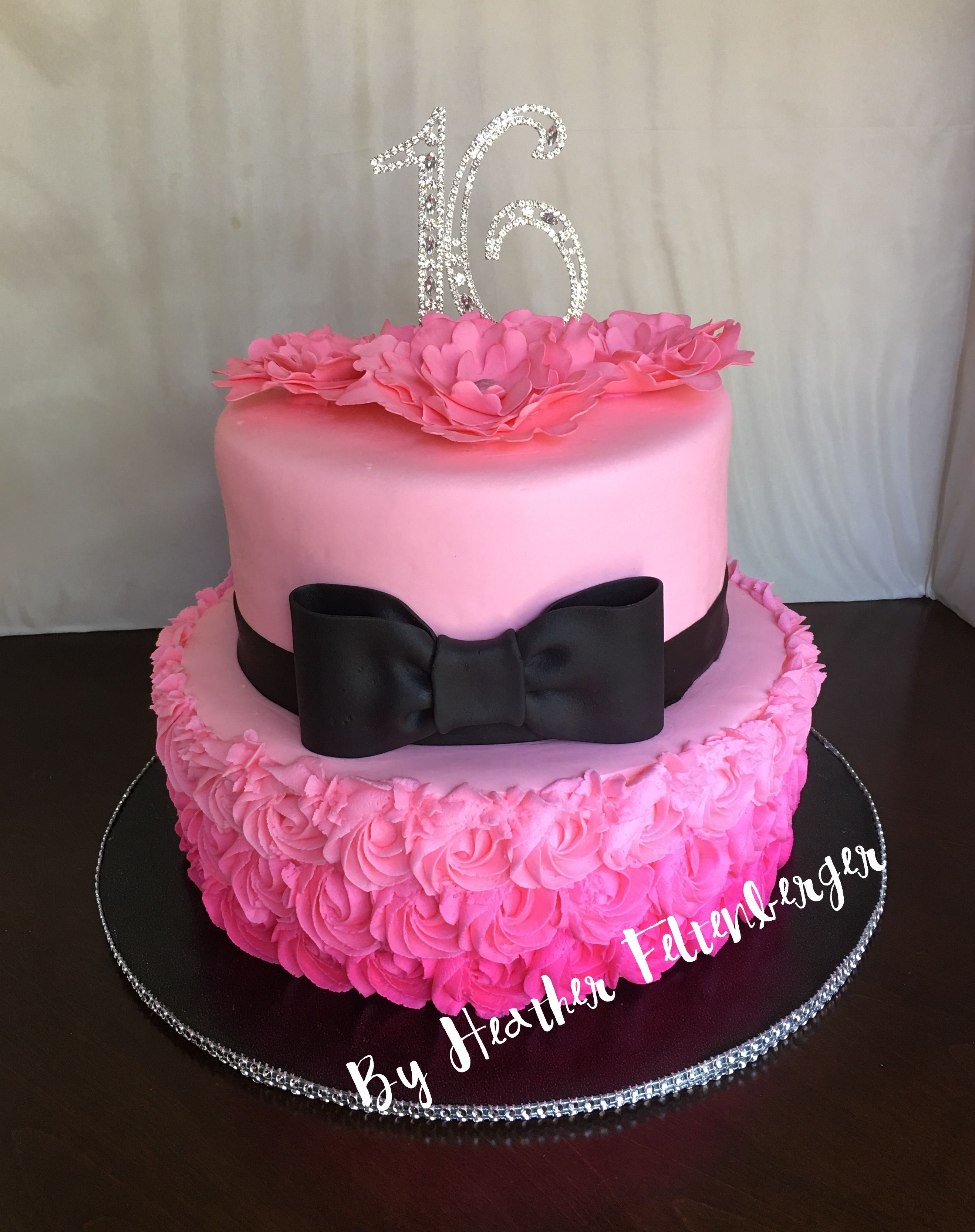 Sweet 16 Birthday Cake Pink Black Bling 2 Tier My Cakes