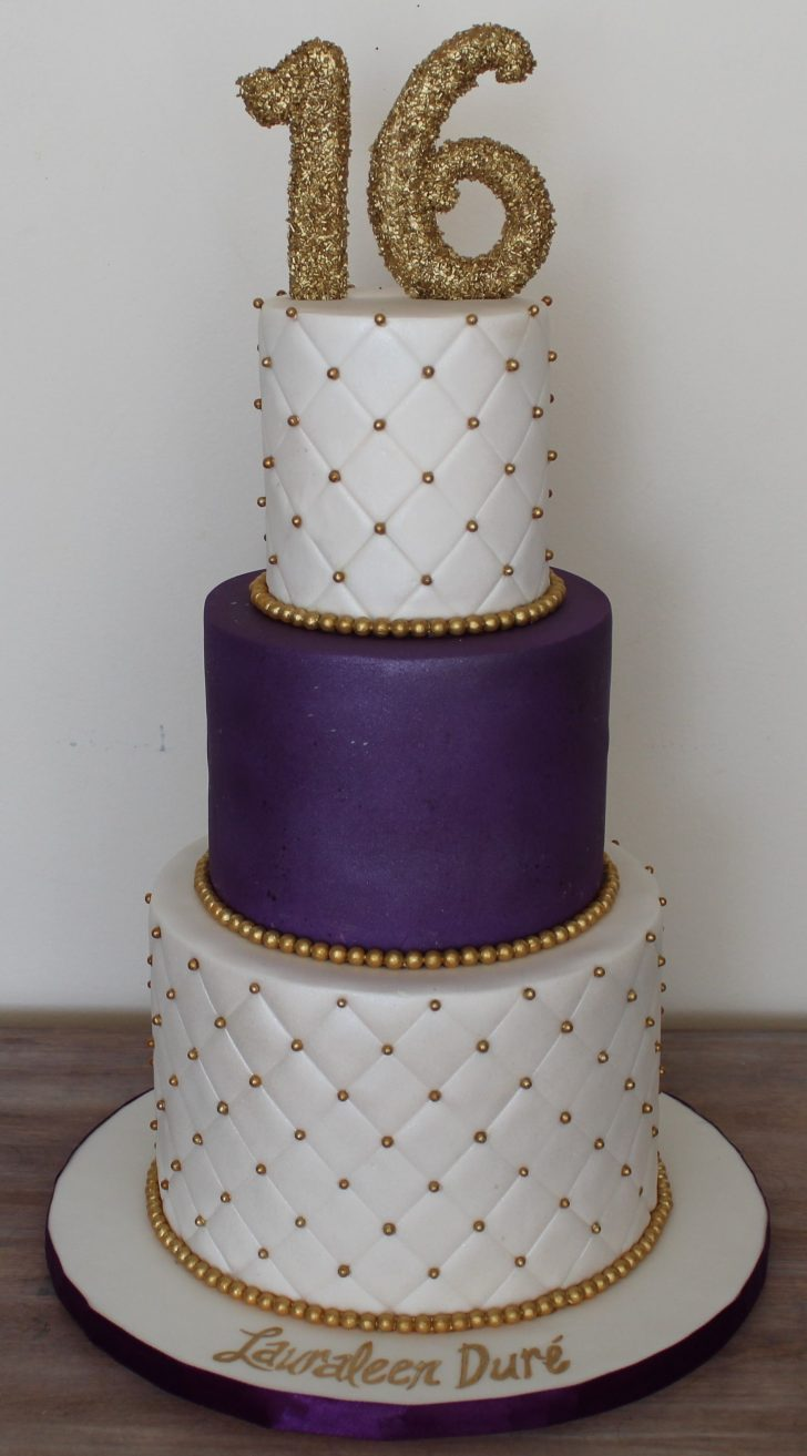 Sweet 16 Birthday Cake Sweet Sixteen 16 Birthday Cake Elegant Clean Plum Royal Purple And