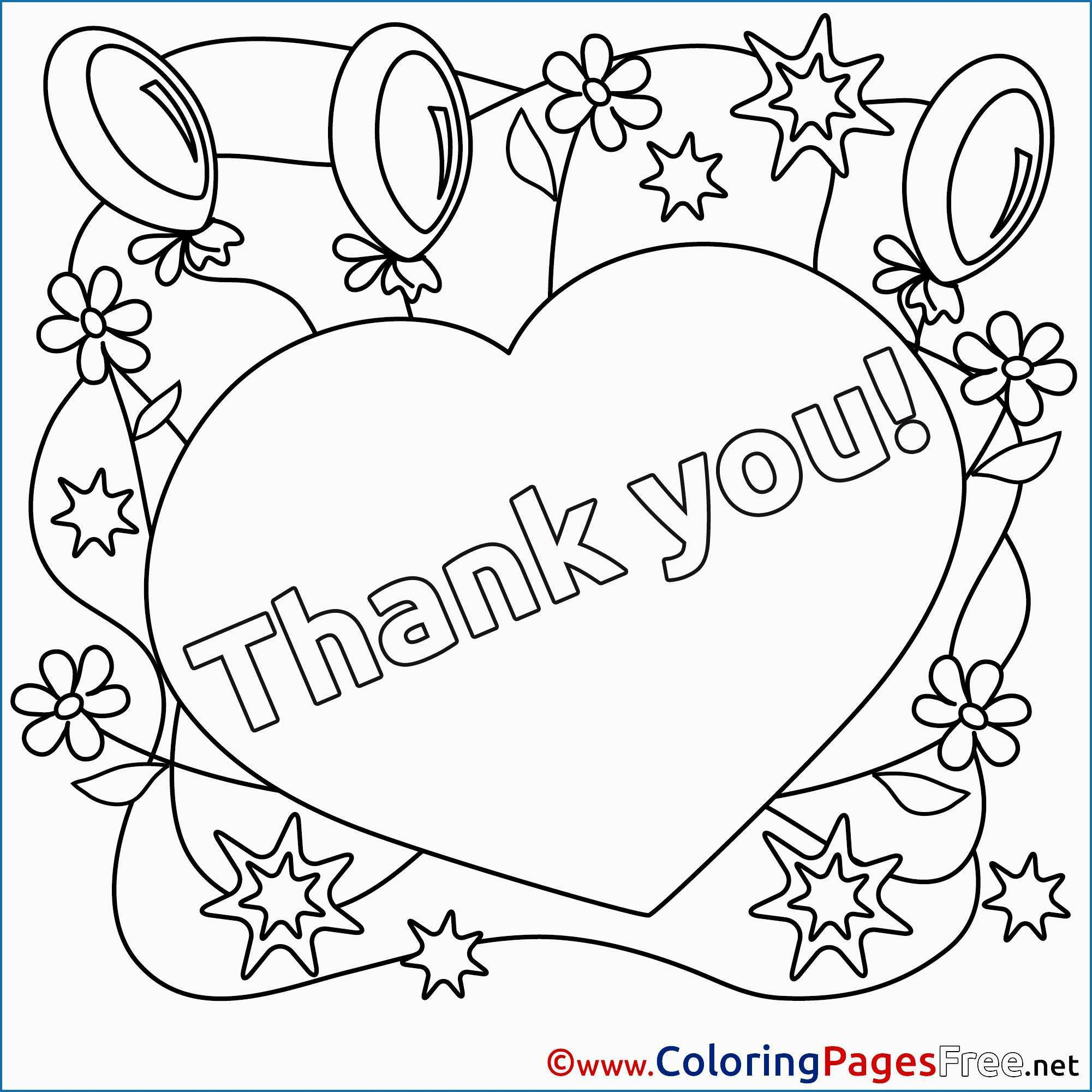 Thank You Coloring Pages Thank You Coloring Pages Fresh Heart Balloons For Kids Thank You