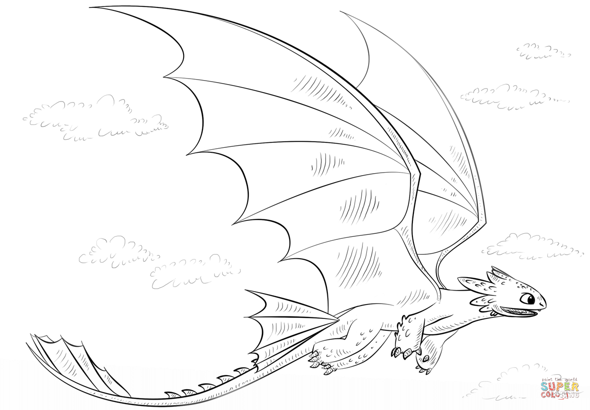 Beautiful Picture of Toothless Coloring Pages