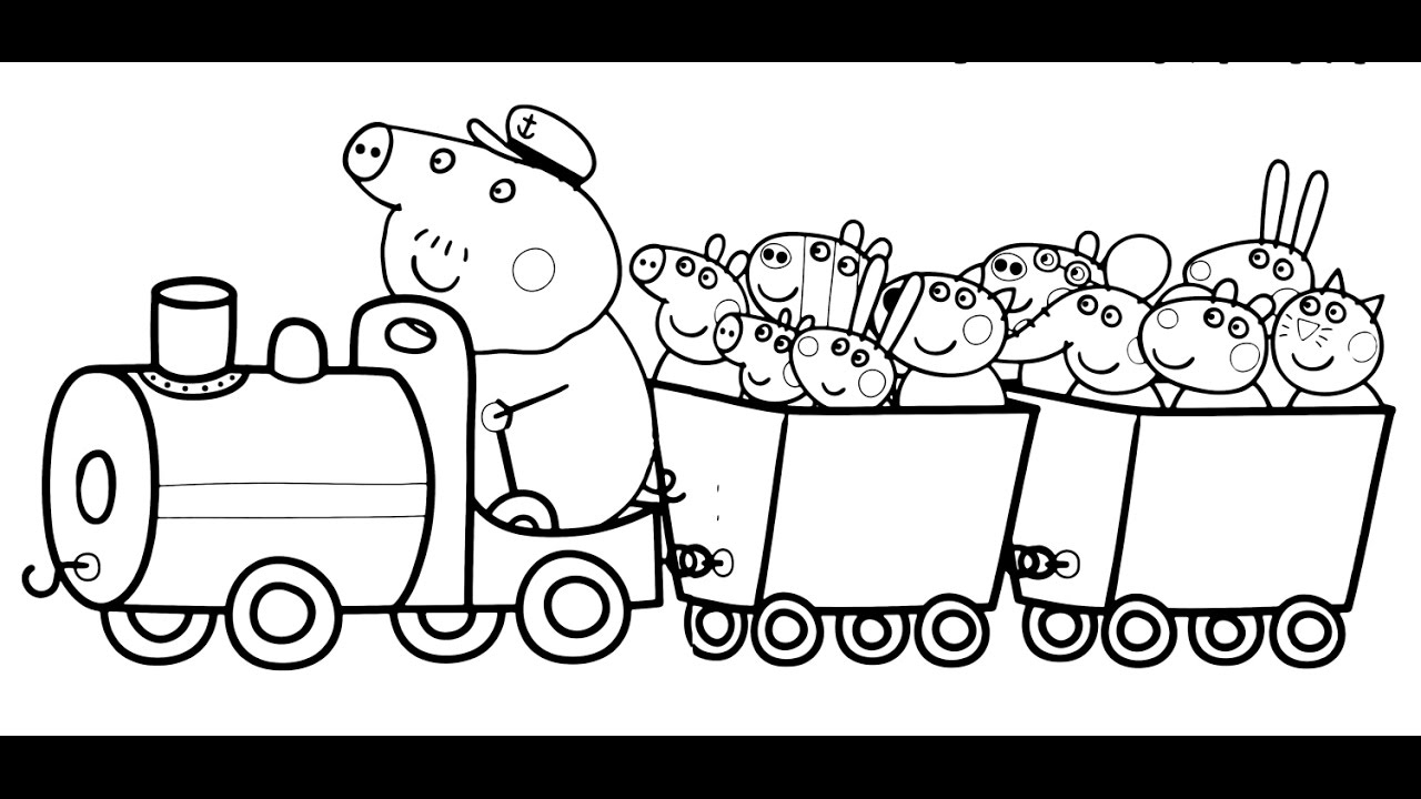 Train Coloring Pages Peppa Pig And Her Friends In Train Coloring Book Pages Kids Fun Art