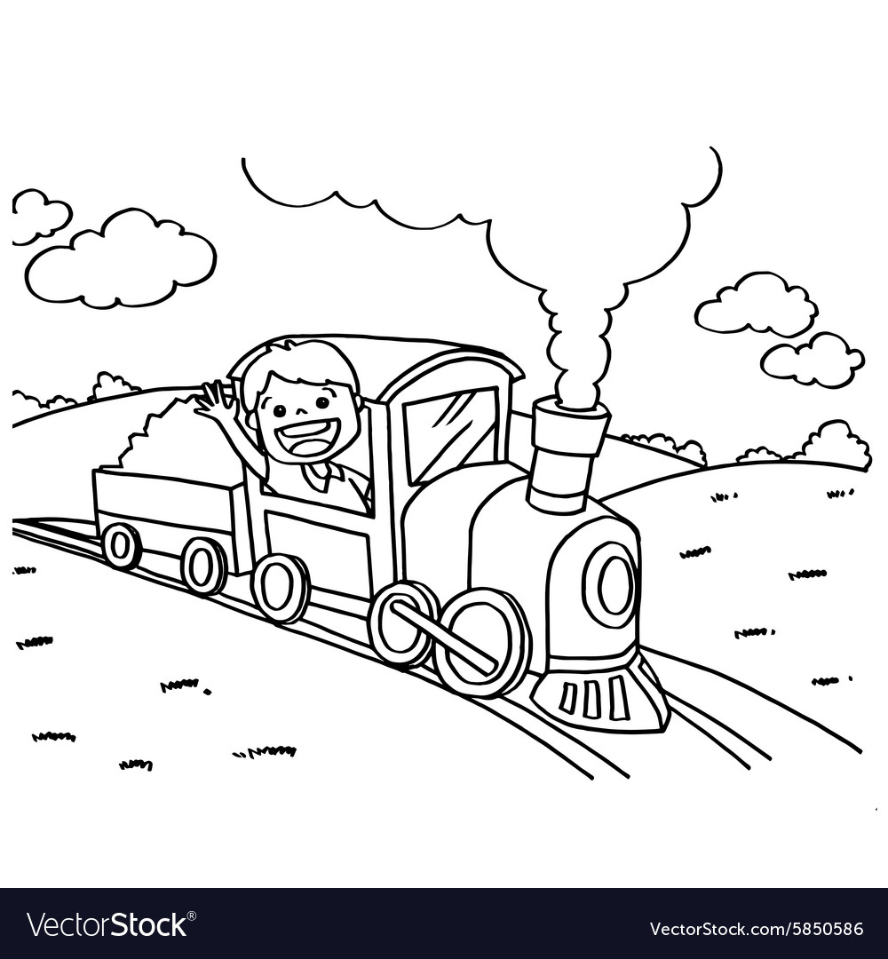 Train Coloring Pages Train Coloring Pages Royalty Free Vector Image